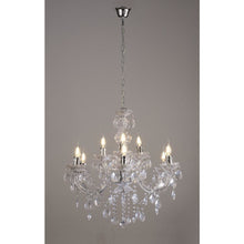 Load image into Gallery viewer, Rosy Brown Deco D0418 Floria Chandelier With Acrylic Sconce & Acrylic Droplets 6+3 Light E14 Polished Chrome Finish deco-d0418-floria-chandelier-with-acrylic-sconce-acrylic-droplets-6-3-light-e14-polished-chrome-finish