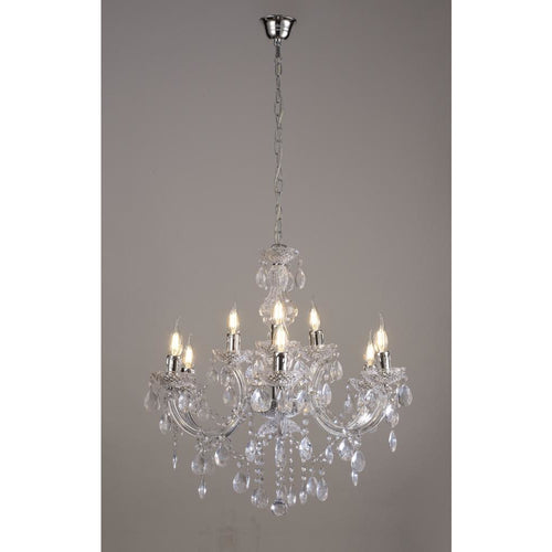Rosy Brown Deco D0418 Floria Chandelier With Acrylic Sconce & Acrylic Droplets 6+3 Light E14 Polished Chrome Finish