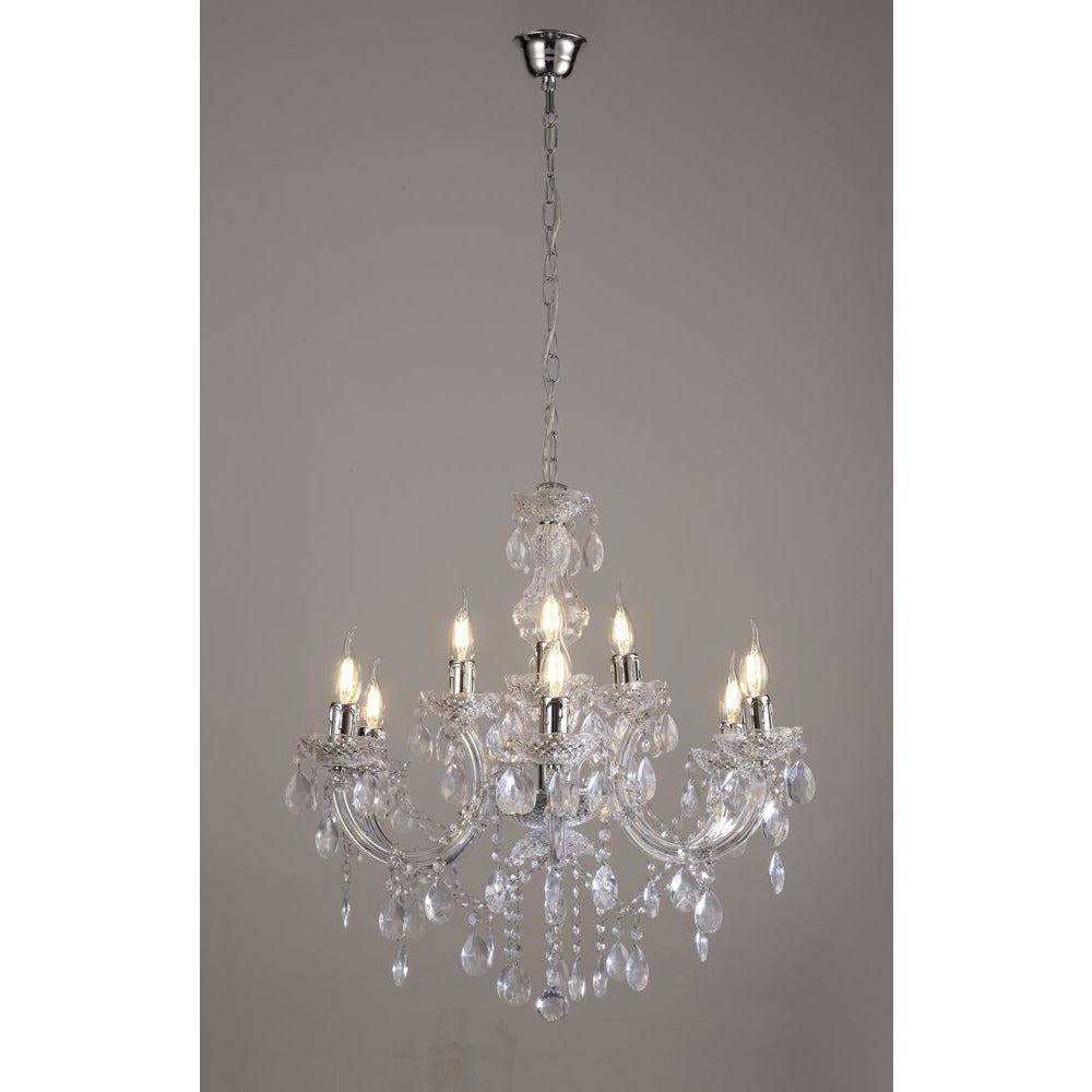 Rosy Brown Deco D0418 Floria Chandelier With Acrylic Sconce & Acrylic Droplets 6+3 Light E14 Polished Chrome Finish deco-d0418-floria-chandelier-with-acrylic-sconce-acrylic-droplets-6-3-light-e14-polished-chrome-finish