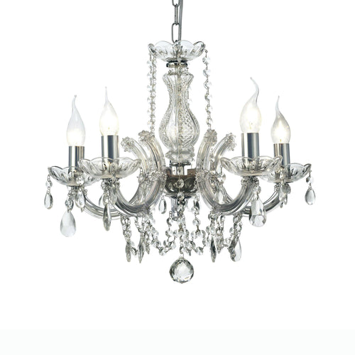 Gray Deco D0020 Gabrielle Chandelier With Glass Sconce & Glass Droplets 5 Light E14 Polished Chrome Finish deco-d0020-gabrielle-chandelier-with-glass-sconce-glass-droplets-5-light-e14-polished-chrome-finish
