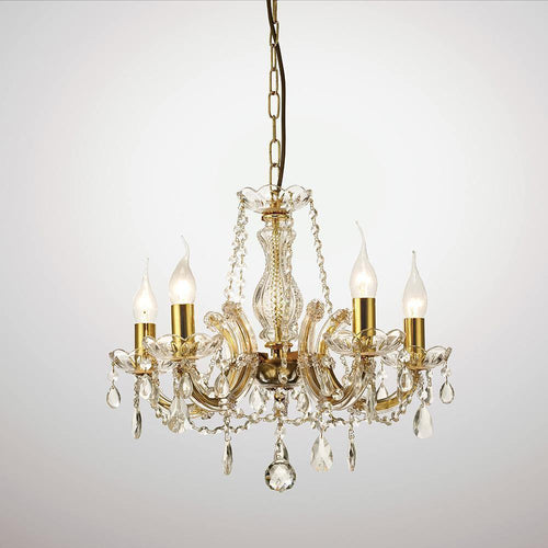 White Smoke Deco D0021 Gabrielle Chandelier With Glass Sconce & Glass Crystal Droplets 5 Light E14 Polished Brass Finish