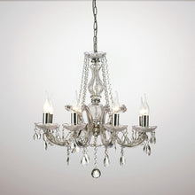 Load image into Gallery viewer, White Smoke Deco D0022 Gabrielle Chandelier With Acrylic Sconce & Glass Crystal Droplets 8 Light E14 Polished Chrome Finish