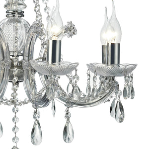 Dark Gray Deco D0022 Gabrielle Chandelier With Acrylic Sconce & Glass Crystal Droplets 8 Light E14 Polished Chrome Finish