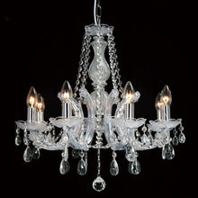 Load image into Gallery viewer, Dark Gray Deco D0022 Gabrielle Chandelier With Acrylic Sconce & Glass Crystal Droplets 8 Light E14 Polished Chrome Finish