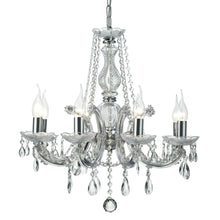 Load image into Gallery viewer, Gray Deco D0022 Gabrielle Chandelier With Acrylic Sconce & Glass Crystal Droplets 8 Light E14 Polished Chrome Finish