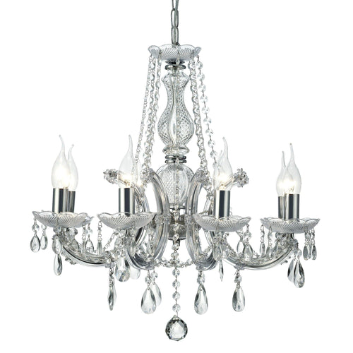 Gray Deco D0022 Gabrielle Chandelier With Acrylic Sconce & Glass Crystal Droplets 8 Light E14 Polished Chrome Finish deco-d0022-gabrielle-chandelier-with-acrylic-sconce-glass-crystal-droplets-8-light-e14-polished-chrome-finish