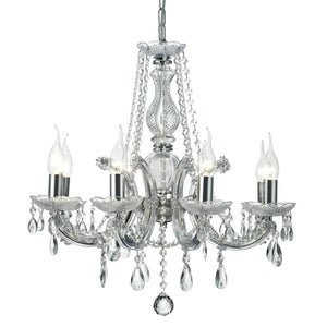 Gray Deco D0022 Gabrielle Chandelier With Acrylic Sconce & Glass Crystal Droplets 8 Light E14 Polished Chrome Finish