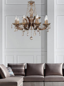 Gray Deco D0023 Gabrielle Chandelier With Acrylic Sconce & Glass Droplets 8 Light E14 Mink Finish deco-d0023-gabrielle-chandelier-with-acrylic-sconce-glass-droplets-8-light-e14-mink-finish