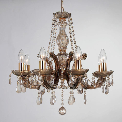 Dim Gray Deco D0023 Gabrielle Chandelier With Acrylic Sconce & Glass Droplets 8 Light E14 Mink Finish