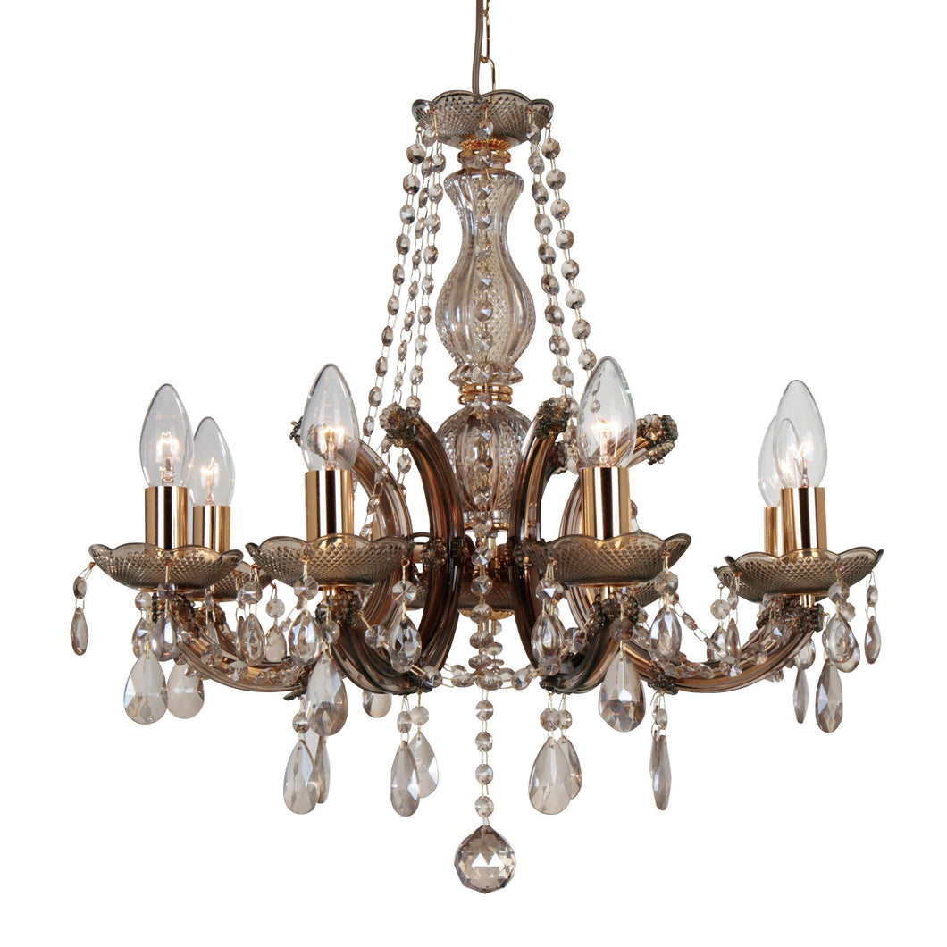 Dim Gray Deco D0023 Gabrielle Chandelier With Acrylic Sconce & Glass Droplets 8 Light E14 Mink Finish deco-d0023-gabrielle-chandelier-with-acrylic-sconce-glass-droplets-8-light-e14-mink-finish