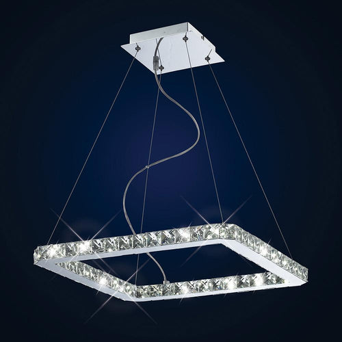 Midnight Blue Diyas IL70038  Galaxy Pendant Square Small 24W LED 6000K Polished Chrome/Crystal