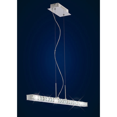 Midnight Blue Diyas IL70045  Galaxy Pendant Linear 12W LED 6000K Polished Chrome/Crystal