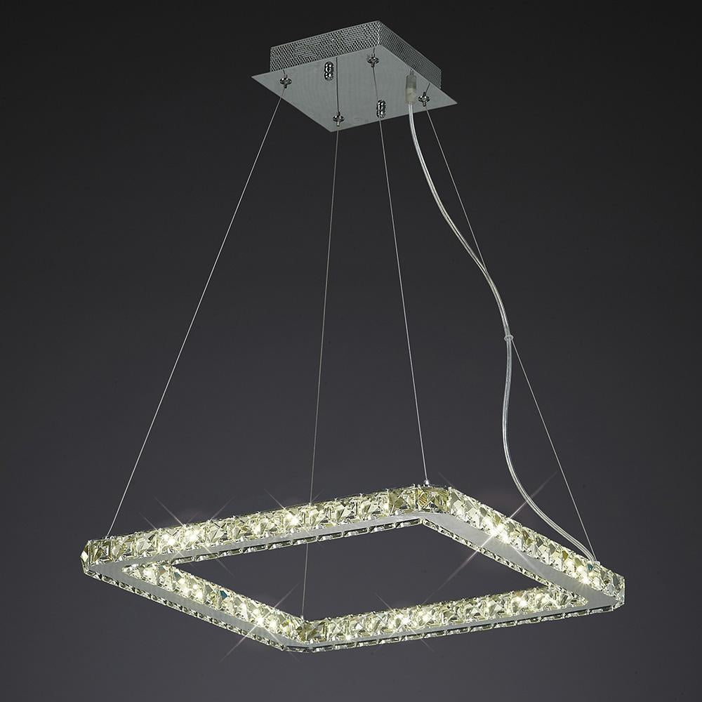 Dark Slate Gray Diyas IL80038 Galaxy Pendant Square Small 24W LED 4000K Polished Chrome/Crystal