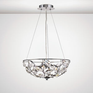 White Smoke Diyas IL31655 Galilea Pendant 4 Light G9 Polished Chrome/Crystal