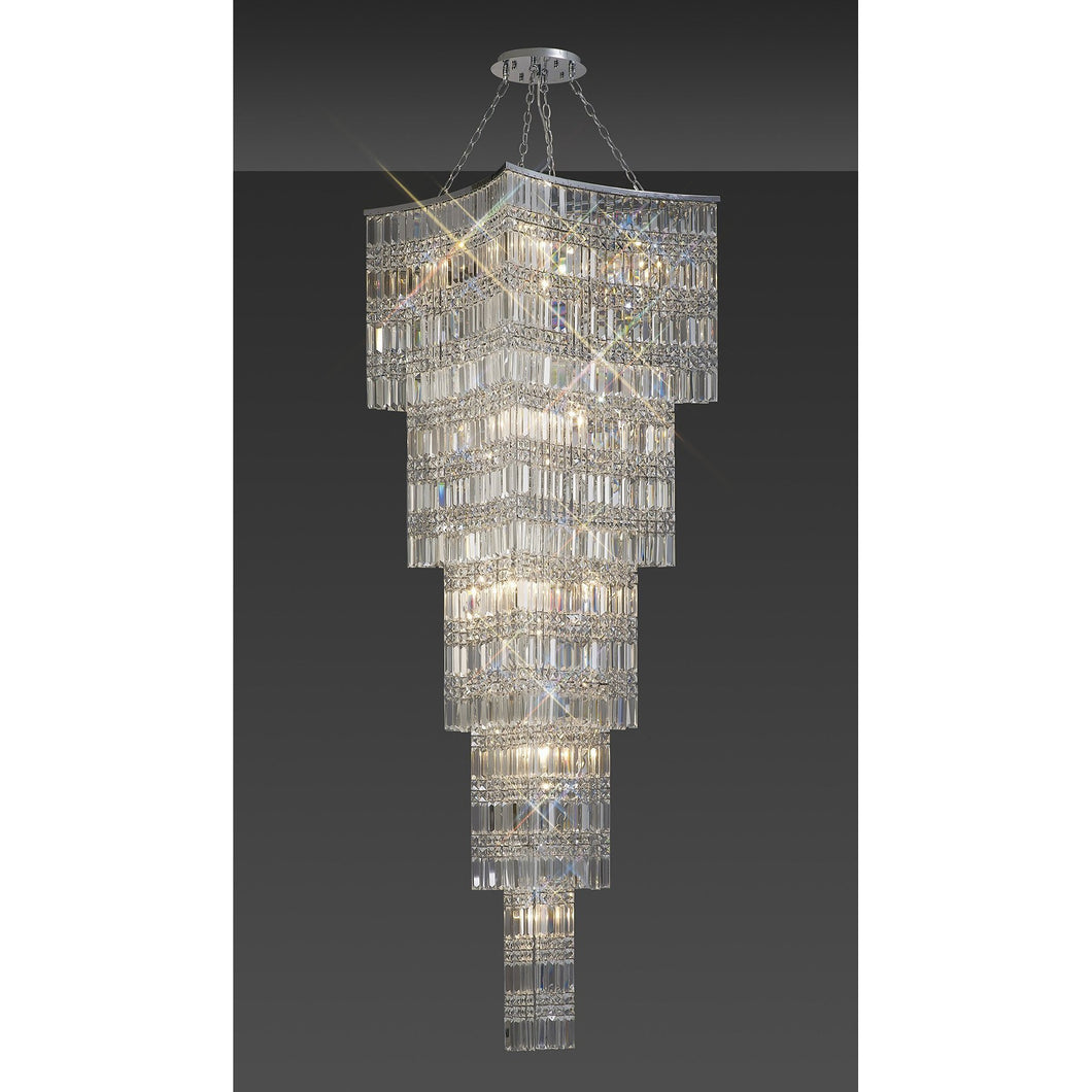 Dark Gray Diyas IL30645 Gianni Tall Pendant 15 Light Polished Chrome/Crystal