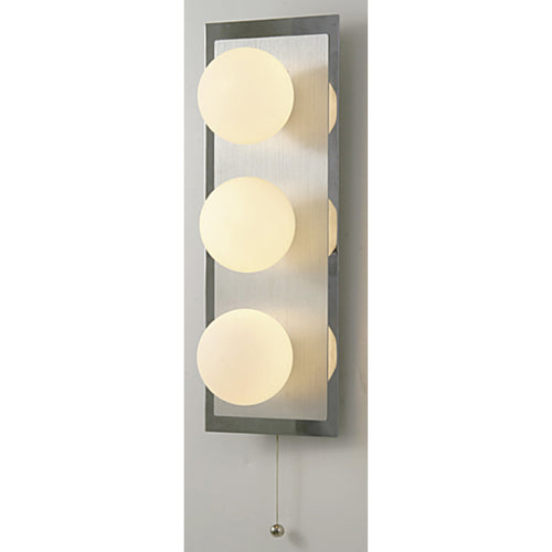 Bisque Diyas IL20361  IP44 Globe Wall Lamp With Pull-Cord Switch 3 Light In Polished Chrome/Opal Glass