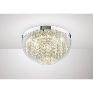 Gray Diyas IL80011 Harper Medium Ceiling 12W 950lm LED 4000K Polished Chrome/Crystal