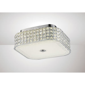 Antique White Diyas IL80023 Hawthorne Square Ceiling 30W 1450lm LED 4000K Polished Chrome/Crystal