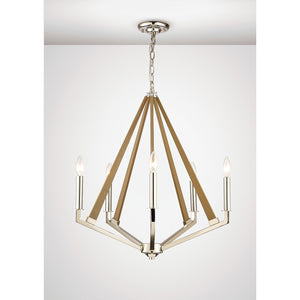 Dim Gray Diyas IL31682 Hilton Pentagonal Pendant 5 Light E14 Polished Nickel/Taupe Wood