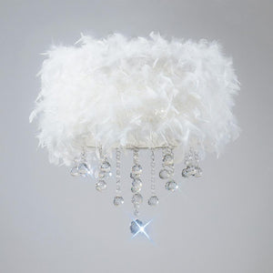 Gray Diyas IL30741/WH Ibis Ceiling With White Feather Shade 3 Light Polished Chrome/Crystal
