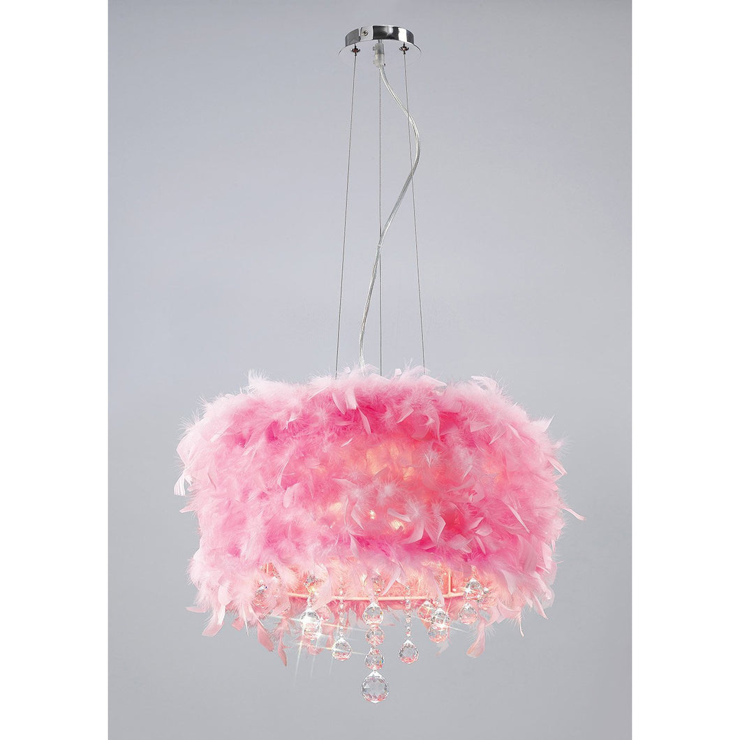 Pale Violet Red Diyas IL30742/PI Ibis Pendant With Pink Feather Shade 3 Light Polished Chrome/Crystal