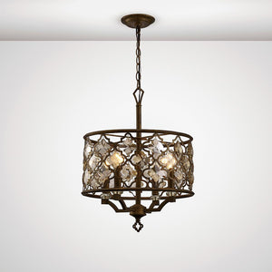 Dim Gray Diyas IL31695 Indie Pendant 4 Light E14 Round Mocha/Teak Plated Crystal