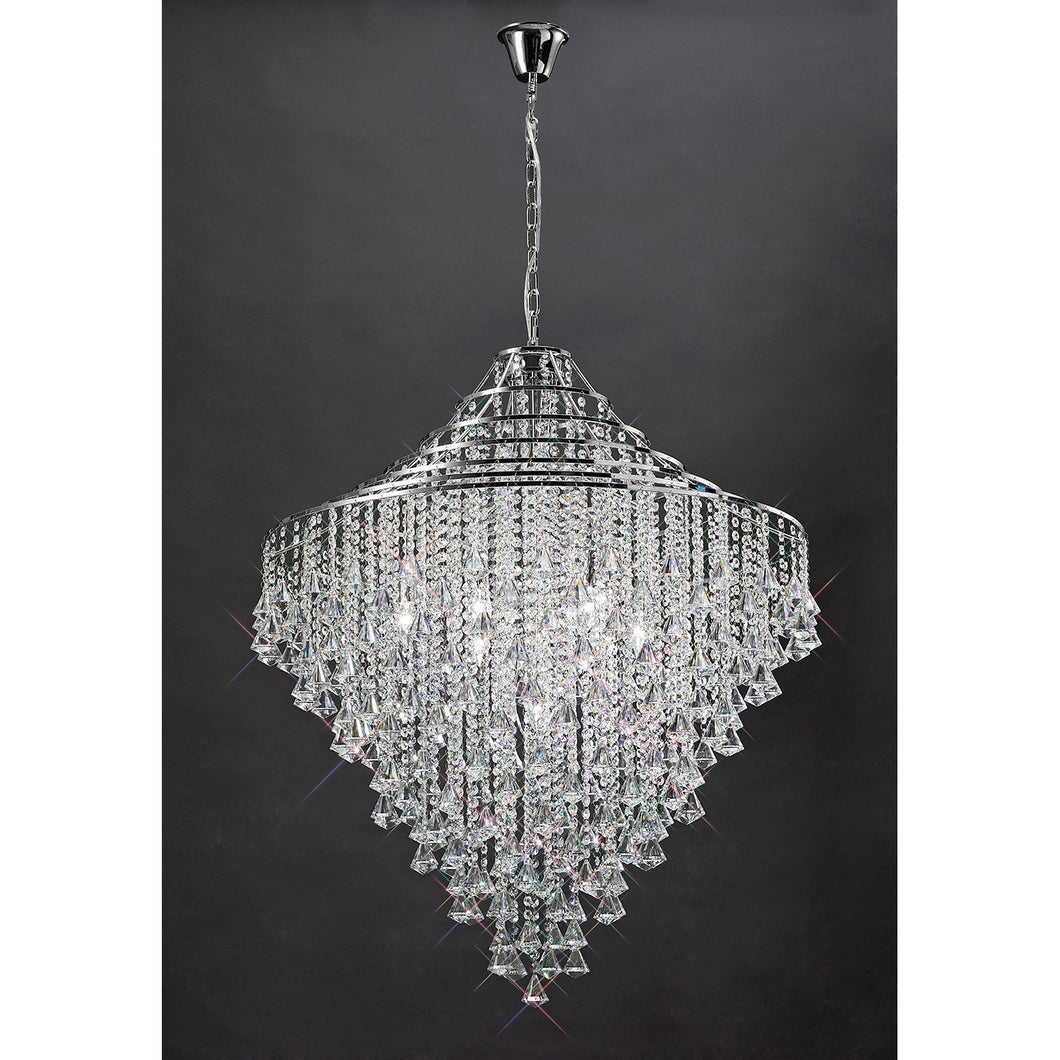 Dark Gray Diyas IL30773 Inina Pendant 9 Light Polished Chrome/Crystal