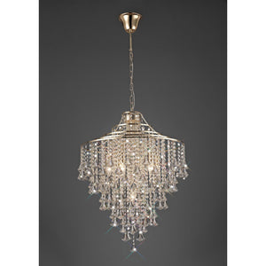 Rosy Brown Diyas IL32772 Inina Pendant 7 Light E14 French Gold/Crystal