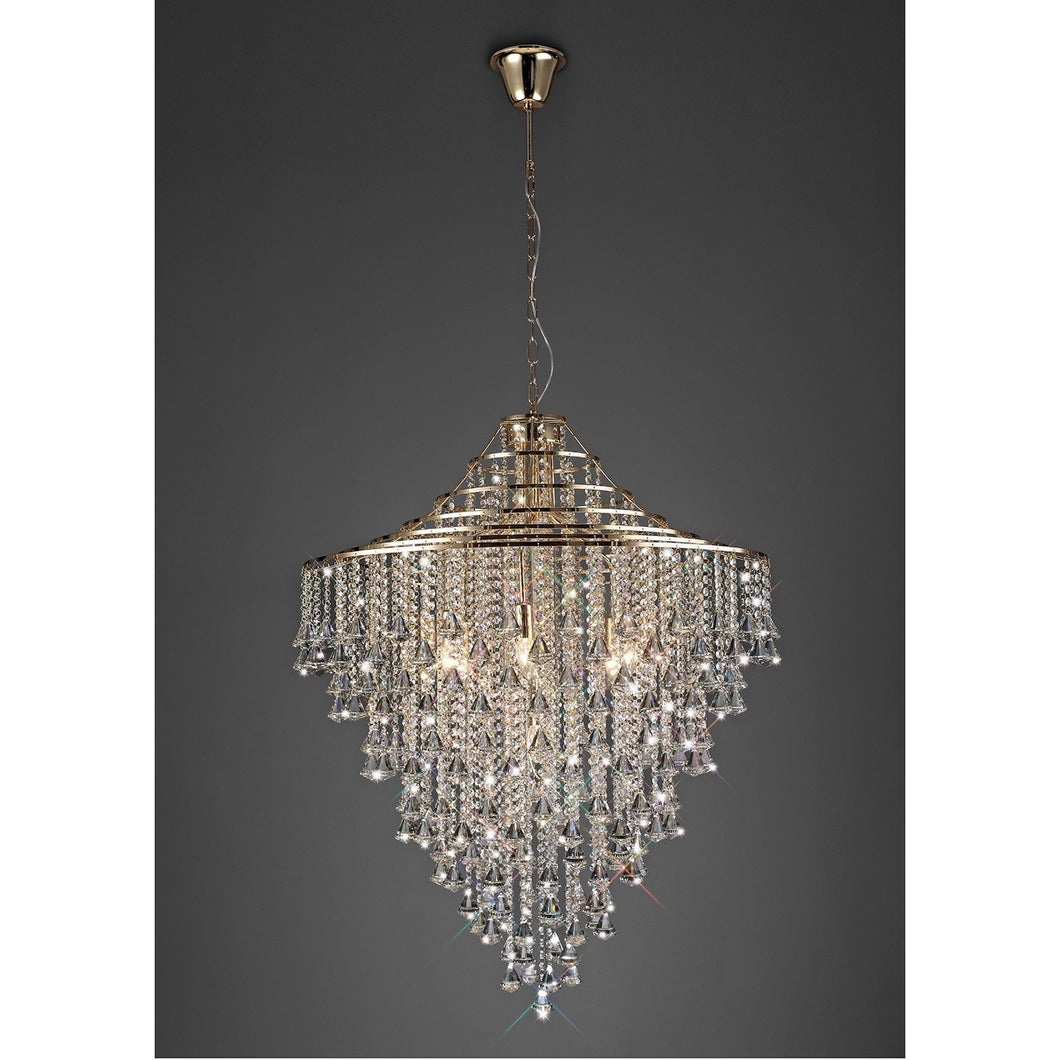 Dark Slate Gray Diyas IL32773 Inina Pendant 9 Light E14 French Gold/Crystal