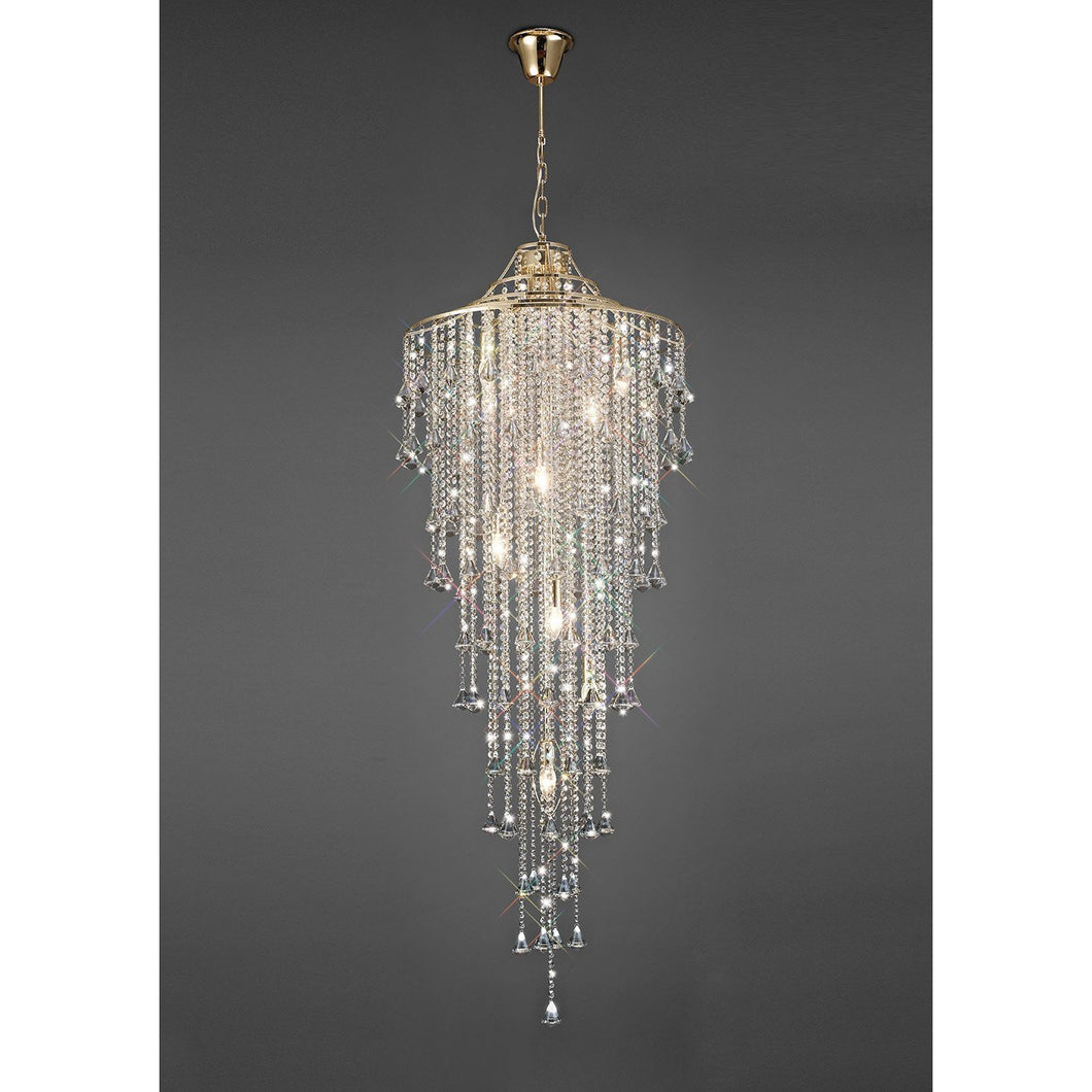 Dim Gray Diyas IL32775 Inina Tall Pendant 9 Light E14 French Gold/Crystal