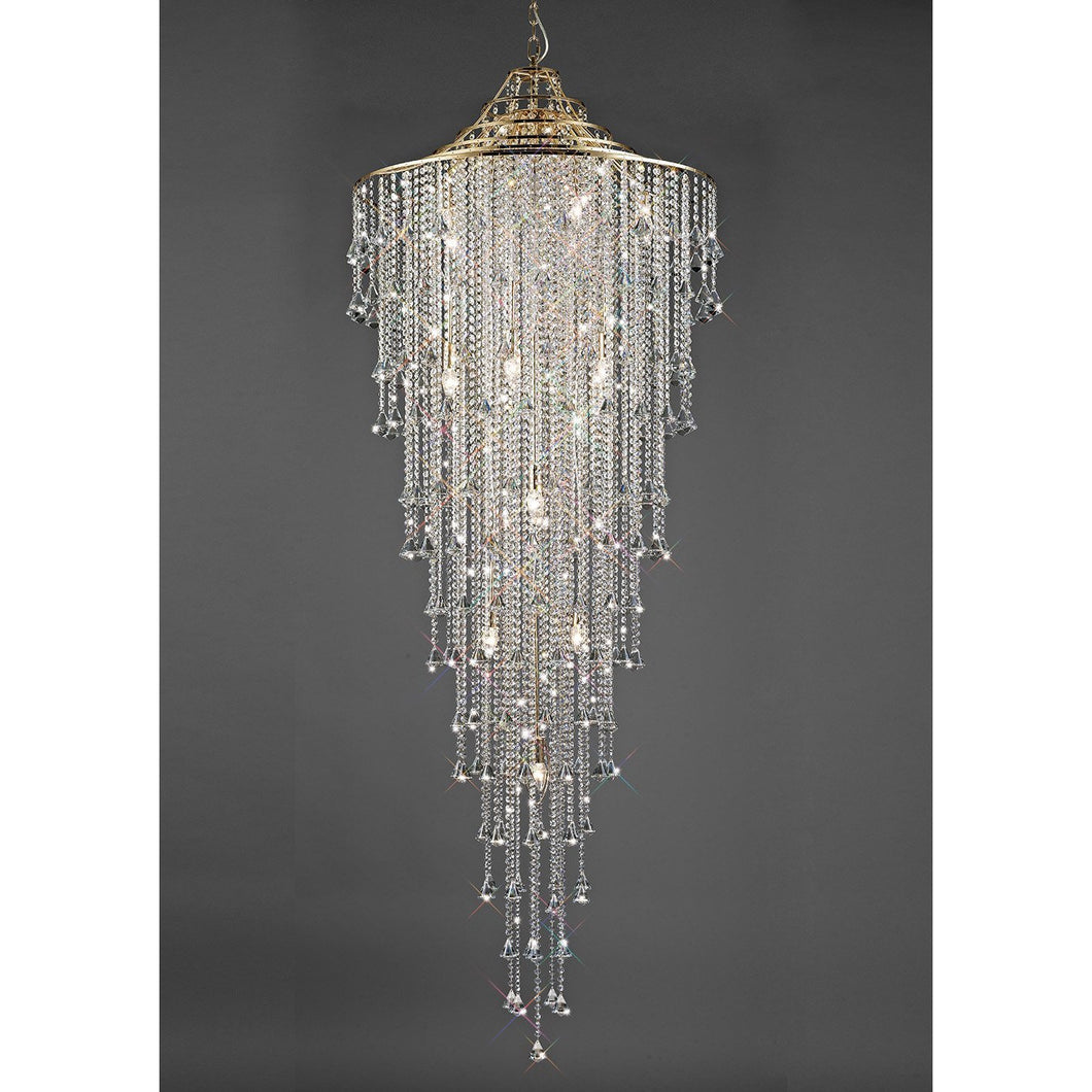 Dark Gray Diyas IL32776 Inina Tall Pendant 15 Light E14 French Gold/Crystal