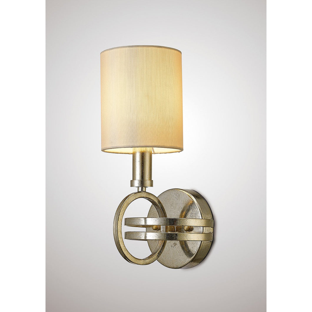 Tan Diyas IL31700 Isabella Wall Lamp With Beige Shade 1 Light Antique Silver diyas-il31700-isabella-wall-lamp-with-beige-shade-1-light-antique-silver Isabella