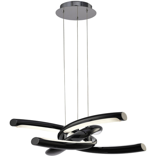 Snow Mantra  M3971 Knot Pendant 36W LED 3000K, 3600lm, Gloss Black/White Acrylic/Polished Chrome, 3yrs Warranty