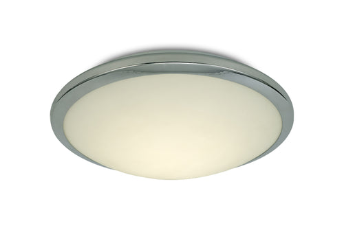 Antique White Deco D0403 Kochi IP44 12W LED Flush Ceiling Light, 4000K 840lm CRI80, Polished Chrome Trim With Opal Glass deco-d0403-kochi-ip44-12w-led-flush-ceiling-light-4000k-840lm-cri80-polished-chrome-trim-with-opal-glass