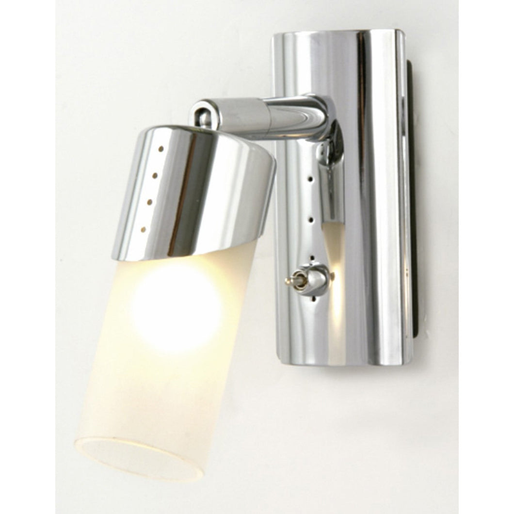 Gray Diyas IL20140  Kopus Wall Lamp Switched 1 Light Polished Chrome/Frosted Glass