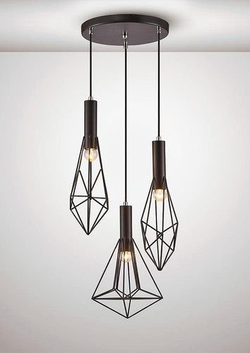 White Smoke Deco D0139 Kristoff Pendant 3 Light E27 Black deco-d0139-kristoff-pendant-3-light-e27-black