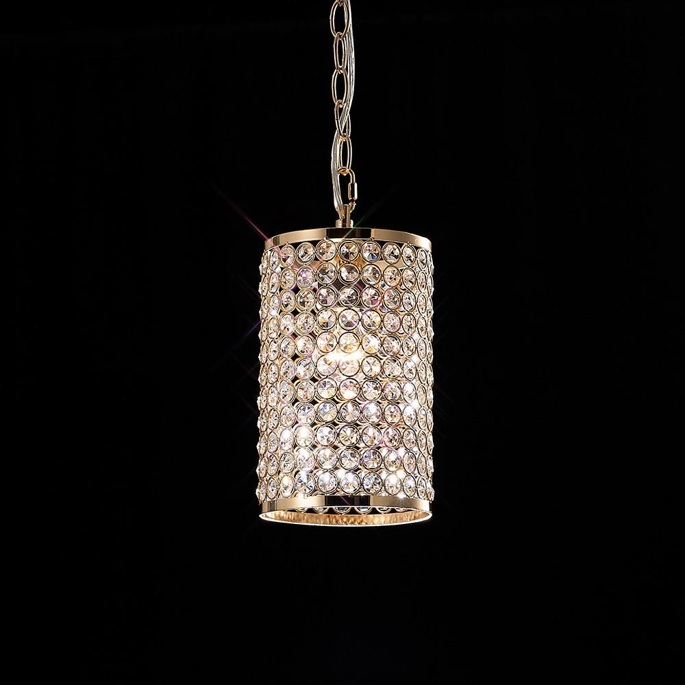Rosy Brown Diyas IL30761 Kudo Cylinder Shade Non-Electric French Gold/Crystal