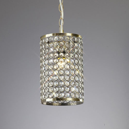 Gray Diyas IL60030 Kudo Crystal Cylinder Shade Non-Electric Antique Brass/Crystal