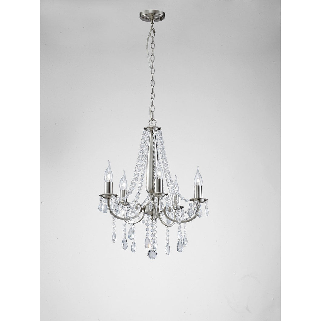 Lavender Diyas IL30975 Kyra Pendant 5 Light Satin Nickel/Crystal diyas-il30975-kyra-pendant-5-light-satin-nickel-crystal Kyra