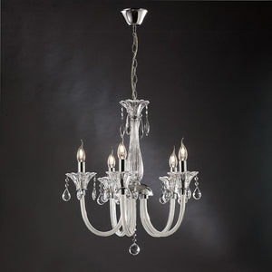 Dim Gray Diyas IL30735  Lavinea Pendant 5 Light Polished Chrome/White Glass/Crystal diyas-il30735-lavinea-pendant-5-light-polished-chrome-white-glass-crystal Lavinea
