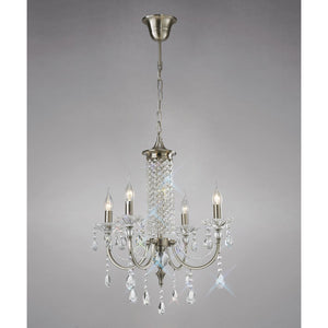 Dark Gray Diyas IL32084 Leana Pendant 4 Light Satin Nickel/Crystal