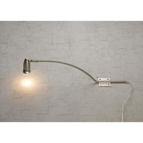 Gray Deco D0211 Lex  Over Cabinet 1 Light GU10 With Adjustable Head And 2m Cable c and w BS Plug Satin Nickel