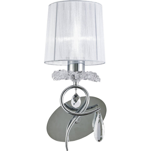 Lavender Mantra M5277 Louise Wall Lamp 1 Light E27 With White Shade Polished Chrome/Clear Crystal mantra-m5277-louise-wall-lamp-lamp-1-light-e27-with-white-shade-polished-chrome-clear-crystal