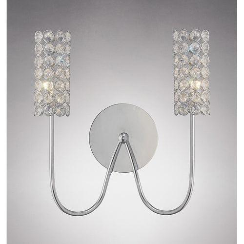 Gray Diyas IL20620 Martina Wall Lamp 2 Light Polished Chrome/Crystal