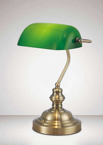 Forest Green Deco D0085 Morgan Bankers Table Lamp 1 Light E27 Antique Brass and Green Glass deco-d0085-morgan-bankers-table-lamp-1-light-e27-antique-brass-and-green-glass