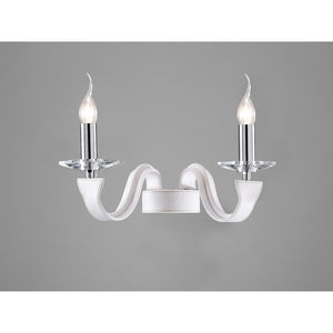 Dark Gray Diyas IL31022  Nardini Wall Lamp 2 Light Polished Chrome/White Faux Leather/Crystal