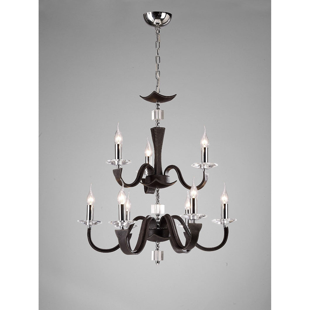 Gray Diyas IL31049 Nardini Pendant 2 Tier 9 Light Polished Chrome Dark Brown Faux Leather/Crystal