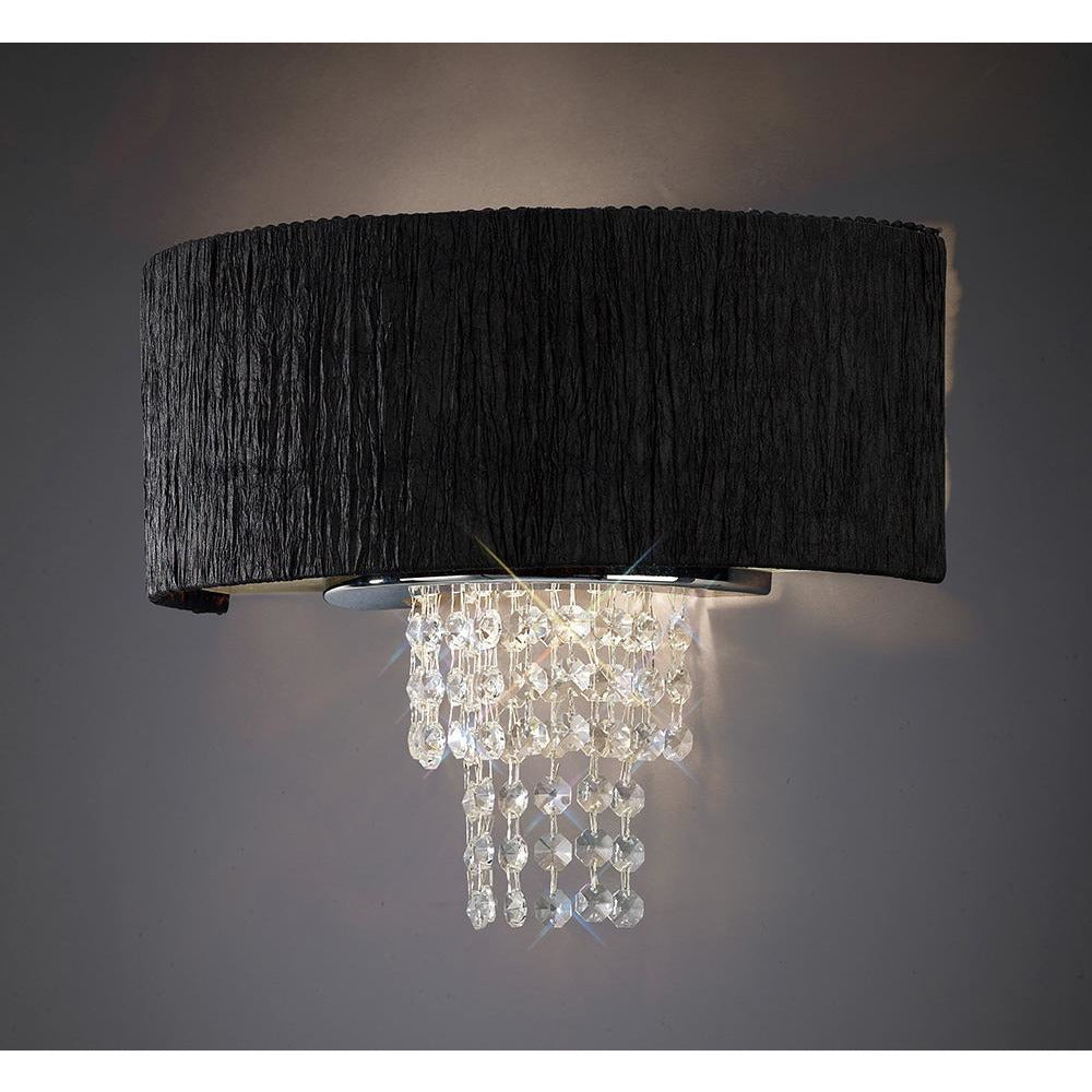Black Diyas IL30271/BL Nerissa Wall Lamp With Black Shade 2 Light Polished Chrome/Crystal