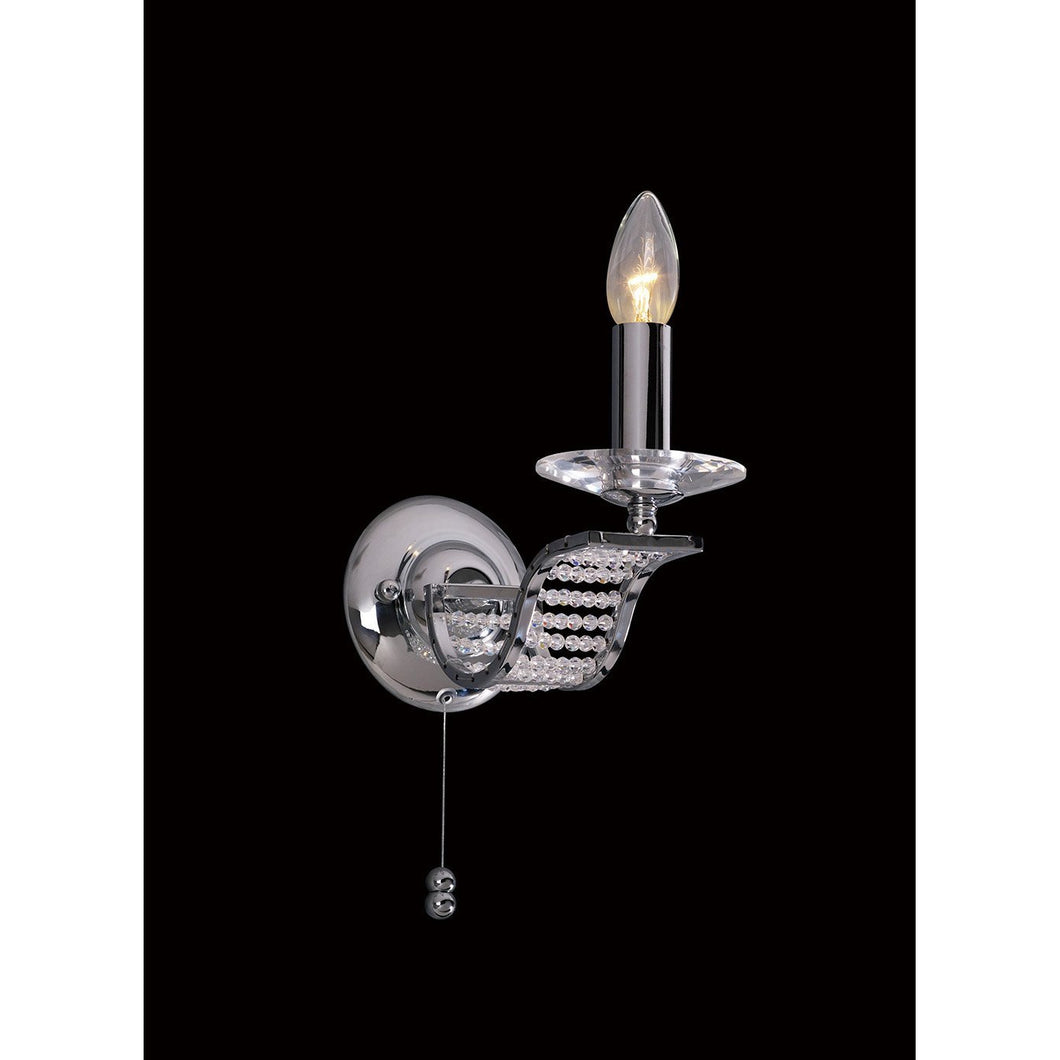 Black Diyas IL30341 Niobe Wall Lamp Switched 1 Light Polished Chrome/Crystal