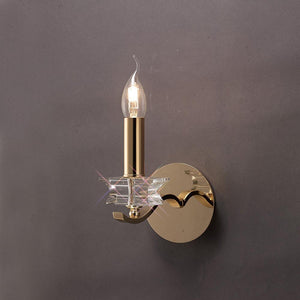 Dim Gray Diyas IL30721  Nydia Wall Lamp Switched 1 Light French Gold/Crystal
